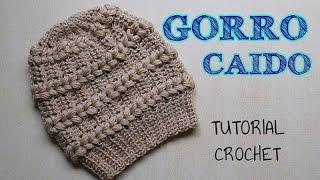 Gorro A Crochet Punto Fantasía Con Detalles En Punto Puff - Tutorial Paso A  Paso b305eaa5372