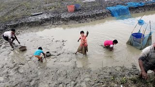 Amazing Traditional village children fishing  in the mud water pond