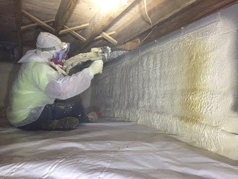 Closed Cell Spray Foam Insulation in encapsulated crawl space in Richmond, VA Crawl Space.