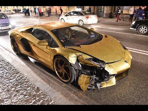 В Польше разбили золотую Lamborghini Aventador