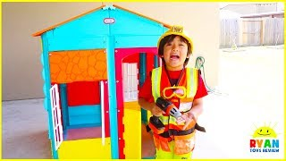 Ryan Pretend Play Building Playhouse for Children!