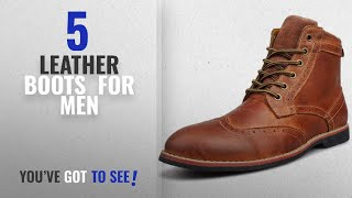 Top 10 Leather Boots [ Winter 2018 ]: Kunsto Mens Leather Classic Brogue Boots Lace Up US Size 10