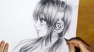How To Draw Manga Girl With Headphones [Side View - Real Time]