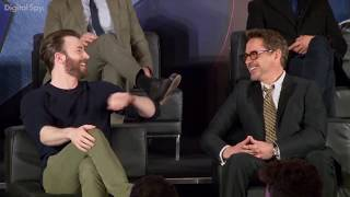 Avengers touch each other during interviews