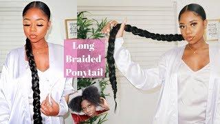 SLEEK LONG BRAIDED PONYTAIL ON 4B/C NATURAL HAIR | $5 Protective Style