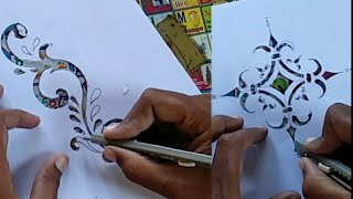 How To Make Simple & Easy Stencil Paper Cutting Flower Design