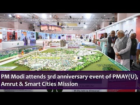 PM Modi attends 3rd anniversary event of PMAY(U), Amrut & Smart Cities Mission