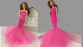 Barbie Dolls Mermaid Dress/Party Gown.Creative Fun For Kids