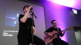 Daley sings Love And Affection in the Apple store.