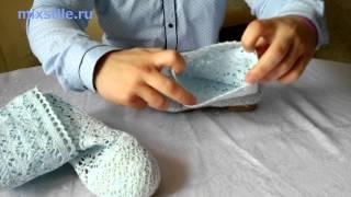 Светло - голубые вязаные сапожки. Летняя обувь. Обзор от mixstile.ru