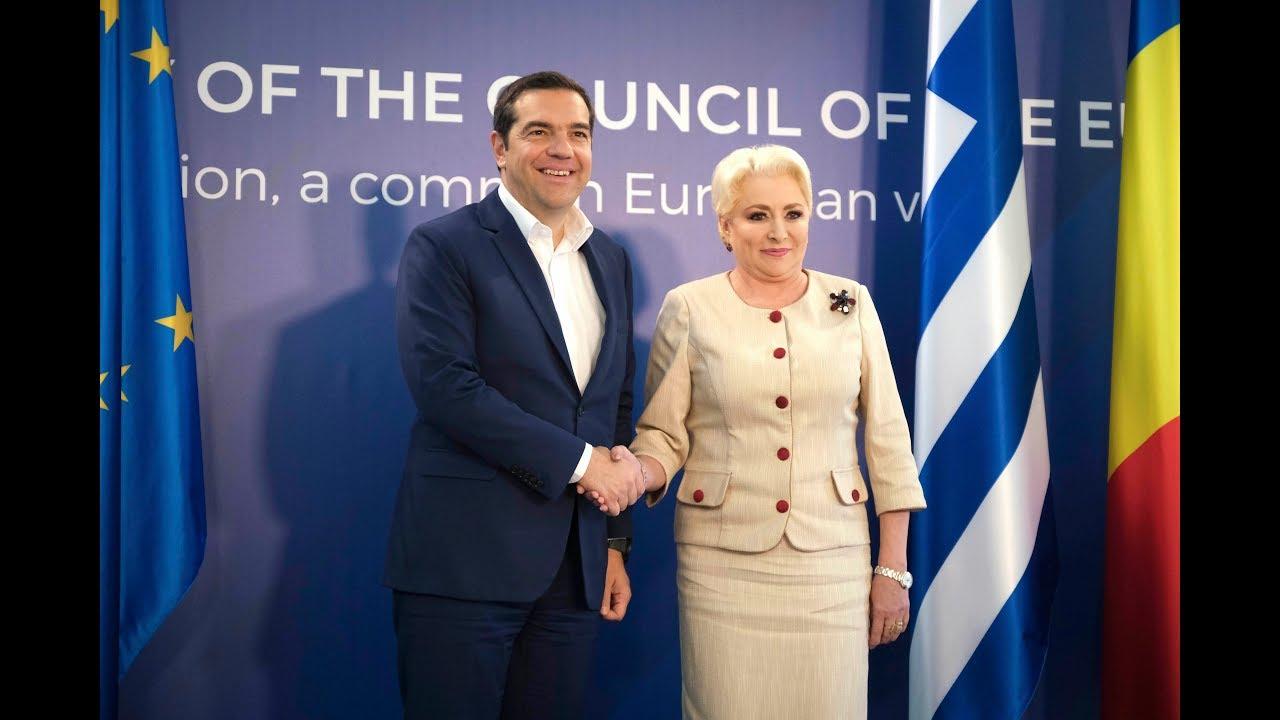 Δηλώσεις προς τους εκπροσώπους του Τύπου με την Πρωθυπουργό της Ρουμανίας