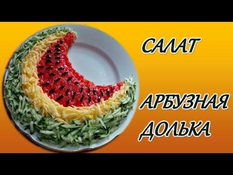 Салат АРБУЗНАЯ ДОЛЬКА с курицей, свежими огурцами и помидорами.
