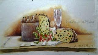 Panetone e taça – Pintura em tecido