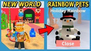 NEW CHRISTMAS WORLD AND RAINBOW SNOWMAN PET IN ROBLOX BLOB SIMULATOR UPDATE!