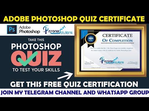 Adobe Photoshop Certificate   Free Online Quiz on Adobe ...