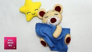 Felt Sleeping Bear - DIY: How To Make Felt Sleeping Bear / Felt Crafts - Kids Crafts.