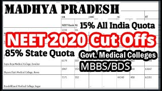 Neet 2020 Cutoff For Govt. Colleges In Mp  Aiq & State Quota Mbbs Bds  #neet2020cutoff #neetcutoff