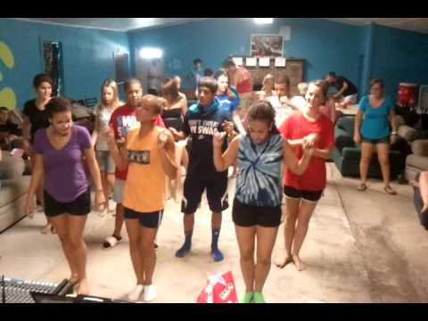Our church camp dancing to