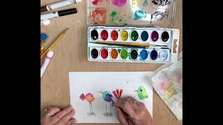 Draw And Paint A Quirky Bird Using Kids Art Supplies
