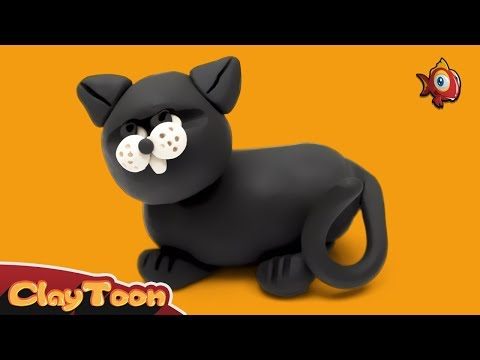 Black cat | Polymer clay tutorial for kids