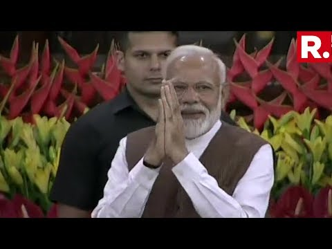PM Modi Arrives In Parliament's Central Hall, NDA Parliamentary Meeting Begins