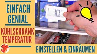 Kühlschranktemperatur optimal einstellen und einräumen - Strom sparen & Haltbarkeit verlängern