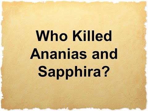 Who Killed Ananias and Sapphira?