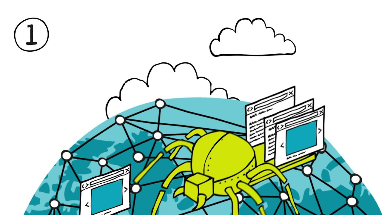 Video-Thumbnail des Erklärvideos: Illustration - Roboterspinne auf 'vernetztem' Globus