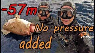 Χωρίς πίεση - Σφυρίδα στα -57m!!!/No Pressure Added -White Grouper -57m!!!