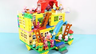 Peppa Pig Blocks Mega House Construction Sets - Lego Duplo House With Water Slide Toys For Kids #2