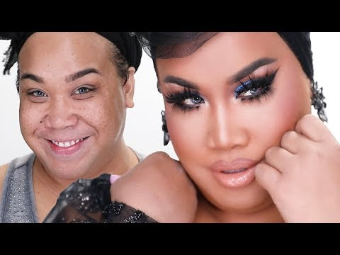 KKW BLUE SMOKEY EYE WITH DRAG LASHES | PatrickStarrr