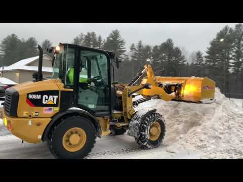 CAT 906M & CAT 262D Plowing Icy Mess !!