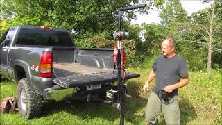 Pickup Truck Crane, Receiver Hitch Hoist Demonstration With Gorillabac Log Splitter Lift Attachment.