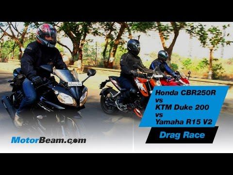 Honda CBR250R vs KTM Duke 200 vs Yamaha R15 V2