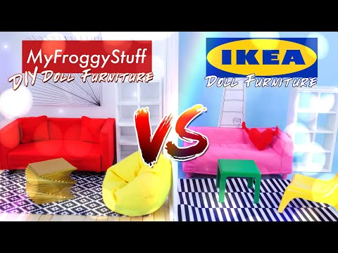 VERSUS: Ikea Doll Furniture VS DIY Doll Furniture – Couch | Chair | Shelves | Rug & more