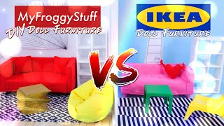 VERSUS: Ikea Doll Furniture VS DIY Doll Furniture - Couch | Chair | Shelves | Rug & More