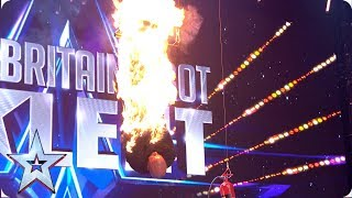 Jonathan Goodwin SETS HIMSELF ON FIRE in unthinkable escape act! | Auditions | BGT 2019