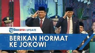 Momen Prabowo Subianto dan Sandiaga Uno Kompak Berdiri dan Beri Hormat ke Jokowi saat Disambut