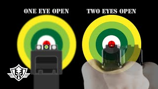Handgun Aiming & Sight Picture: One Eye vs Two Eyes; Front Sight Aiming vs Point Shooting