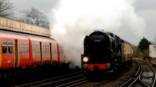 preview picture of video '23/12/13 - 34046 'Braunton' at Raynes Park with the Salisbury Christmas Diner'