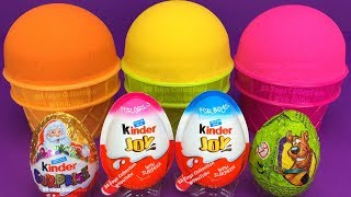 3 Color Kinetic Sand in Ice Cream Cups | Surprise Toys PJ Masks Chupa Chups Kinder Surprise Eggs