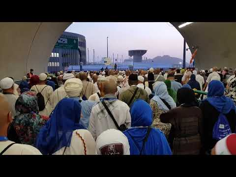 Hajj | Pilgrims are walking from the tent city of Mina to Jamarat through the tunnel