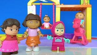 Maşa ile Koca ayı Dora ve Heidi bebek bakıyorlar. Maşa Palyaço sihirbaz oluyor. Koca ayı parkta 4K