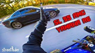 ЧУВАК НА МЕРСЕ ПЫТАЛСЯ   Mercedes-Benz SL55 AMG V8  vs Yamaha R6