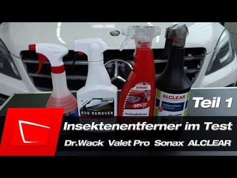 Dr.Wack CW1:100, Valet Pro Bug Remover, SONAX Insektenentferner, ALCLEAR Insektenentferner im Test