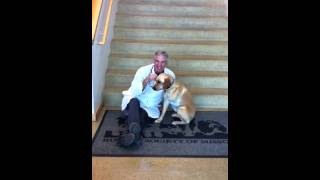 Marshall with Dr. Schwatz, The Vet Who Saved Him