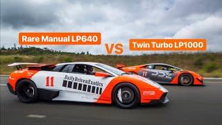RARE MANUAL LAMBORGHINI MURCIELAGO VS TWIN TURBO 1000HP HURACAN IN LA!