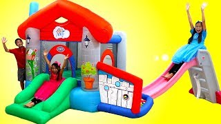 Wendy Pretend Play with an Inflatable Playground Bounce Playhouse