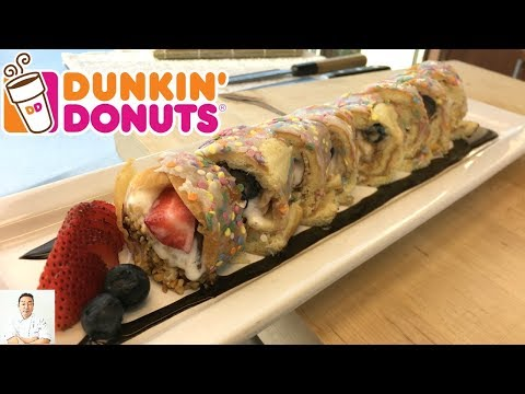 Dunkin' Donut Birthday Cake Ice Cream Sushi Roll | National Doughnut Day