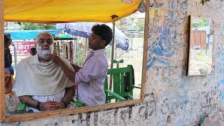 👴 Street Shaving | Indian Barber Street Shave In Varanasi/Benaras India | How To Shave Your Face |